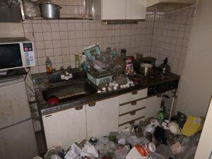 京都府訳あり物件のゴミでいっぱいの台所